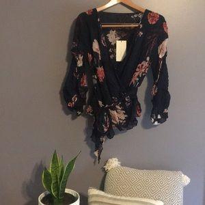 Zara   Navy Floral Wrap Top